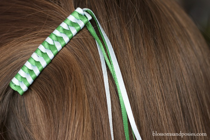 Green Ribbon Barrette