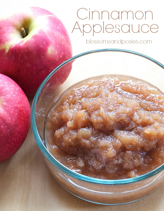 Make cinnamon applesauce in your crockpot! This recipe is sugar free, gluten free, and paleo! http://blossomsandposies.com/blog/cinnamon-applesauce