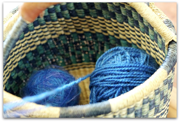basket with yarn - Blossoms and Posies