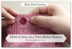 How to Sew on a Two Holed Button - BlossomsAndPosies.com