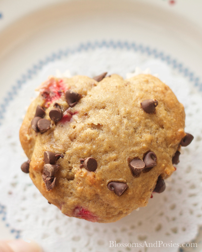 Try these Strawberry Heart Chocolate Muffins at your next tea party!