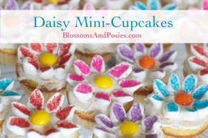 Tutorial for decorating miniature daisy cupcakes
