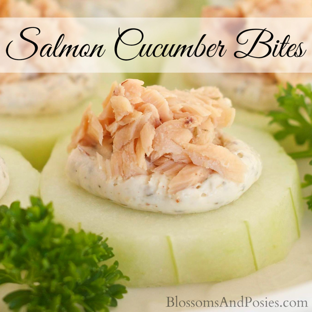 Try Salmon Cucumber Bites at your next party! Salmon, cream cheese and horseradish combine for a great flavor! #glutenfree #TrimHealthyMama #lowcarb