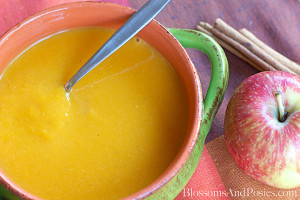 Creamy butternut apple soup is perfect for a chilly day, and a delicious way to get several servings of fruit and veggies! Chock full of Vitamin A too!