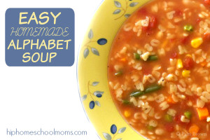 This Homemade Alphabet Soup recipe is easy enough for kids to make! Moms, just relax and send the kids to the kitchen!